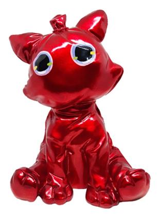 "Balloon ""Knautsch"" Cat sitting 21x16cm metallic red color C"