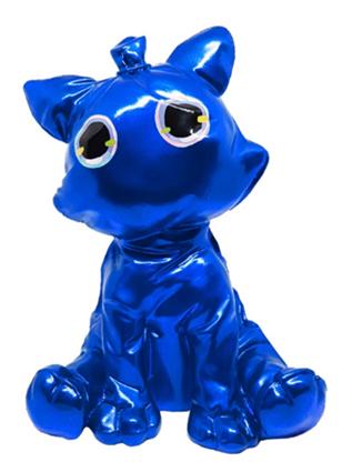 """Balloon """"Knautsch"""" Cat sitting 21x16cm metallic blue color D"""